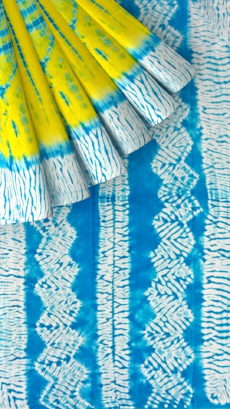 Yellow & Sky Blue Shibhori Cotton Saree-yespoho
