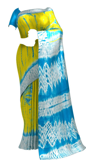 Yellow & Sky Blue Shibhori Cotton Saree Cotton Sarees Yespoho Sarees Handpicked Collections New Arrivals