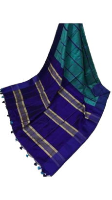 Violet & Teal Blue Handloom Silk Cotton Saree-yespoho