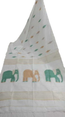 Off White Silk Cotton Saree With Jamdhani Design-yespoho