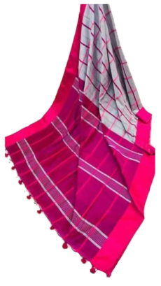 Pink & Grey Handloom Silk Cotton Saree-yespoho