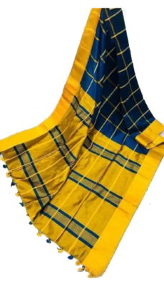 Dark Blue & Bright Yellow Handloom Silk Cotton Saree-yespoho