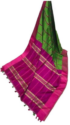 Magenta & Dark Green Handloom Silk Cotton Saree-yespoho