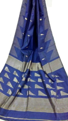 Royal Blue Pallu Temple Saree-yespoho