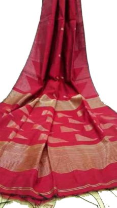 Dark Red Pallu Temple Saree-yespoho