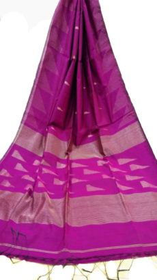 Dark Pink Pallu Temple Saree-yespoho