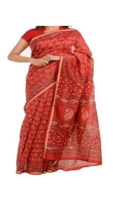 Bright Red Chanderi Block Print Saree-yespoho