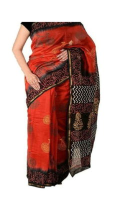 Dark Orange & Black Chanderi Block Print Saree-yespoho