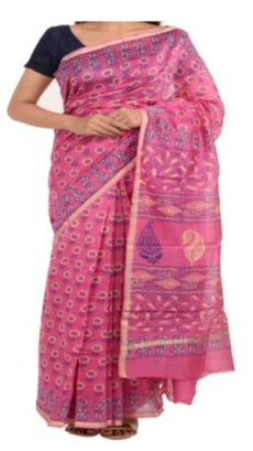 Light Pink Chanderi Block Print Saree-yespoho