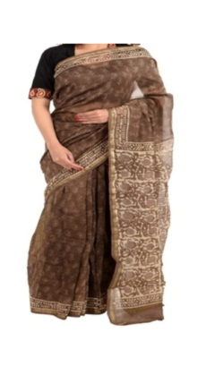 Coffee Brown Chanderi Block Print Saree-yespoho