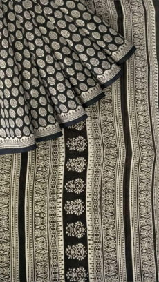 Black & White Bagru Print Cotton Saree-yespoho