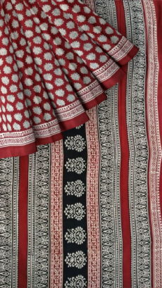 Maroon & Cream Bagru Print Cotton Saree-yespoho