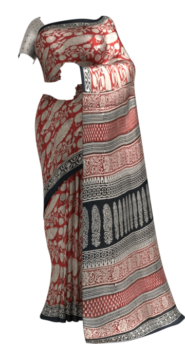 Maroon & Black Bagru Print Cotton Saree Cotton Sarees Thanksgiving Winter Sale Yespoho Sarees Handpicked Collections New Arrivals