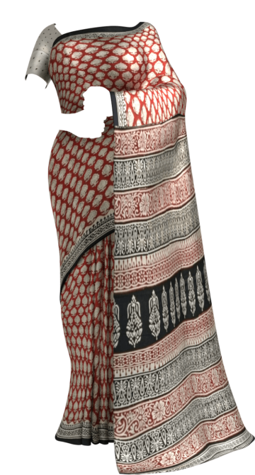 Maroon & Black Bagru Print Cotton Saree Cotton Sarees Yespoho Sarees Handpicked Collections