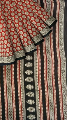 Black & Maroon Bagru Print Cotton Saree-yespoho