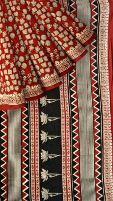 Maroon & Black Multicolour Bagru Print Cotton Saree-yespoho