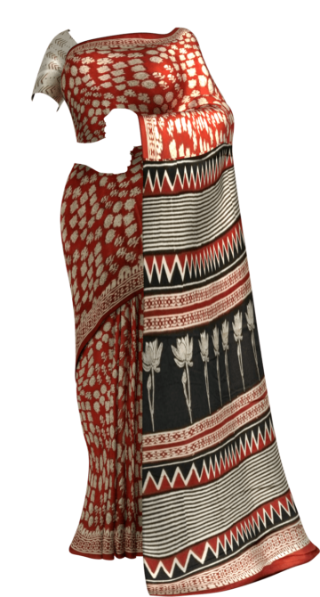 Maroon & Black Multicolour Bagru Print Cotton Saree Cotton Sarees Thanksgiving Winter Sale Yespoho Sarees Handpicked Collections New Arrivals