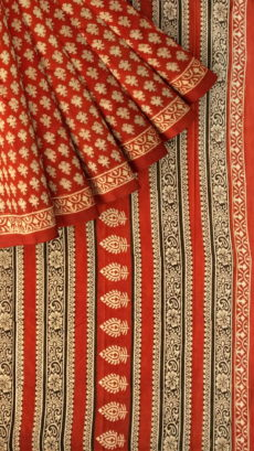 Dark Red & Beige Bagru Print Cotton Saree-yespoho