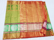 Red & Mehandi Green Kanchipuram Tissue Silk Saree-yespoho