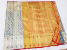 Grey & Red Kanchipuram Tissue Silk Saree-yespoho