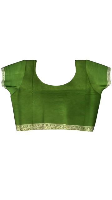 Mehandi Green Designer Hand Block Print Cotton Saree with Unstitched Blouse