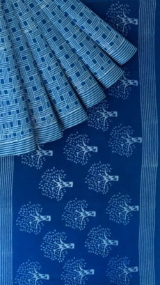 Light Blue Designer Hand Block Print Cotton Saree-yespoho