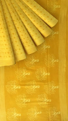 Mustard Yellow Designer Hand Block Print Cotton Saree-yespoho