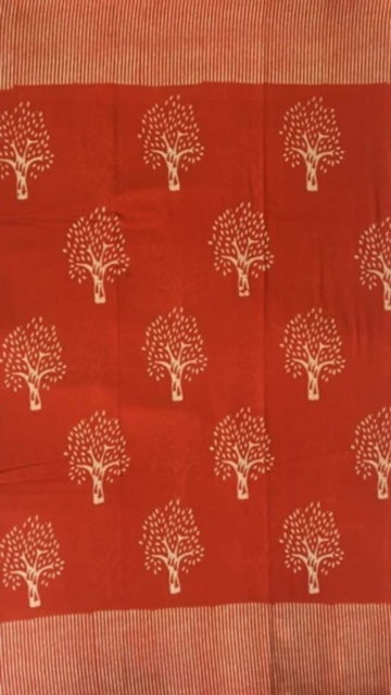 Yespoho Red Designer Hand Block Print Cotton Saree