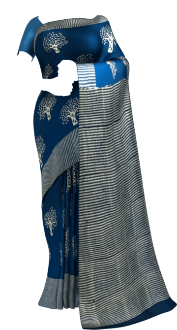 Blue Designer Hand Block Print Cotton Saree Cotton Sarees Monsoon Sale Yespoho Sarees New Arrivals
