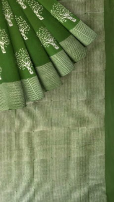 Mehandi Green Designer Hand Block Print Cotton Saree-yespoho