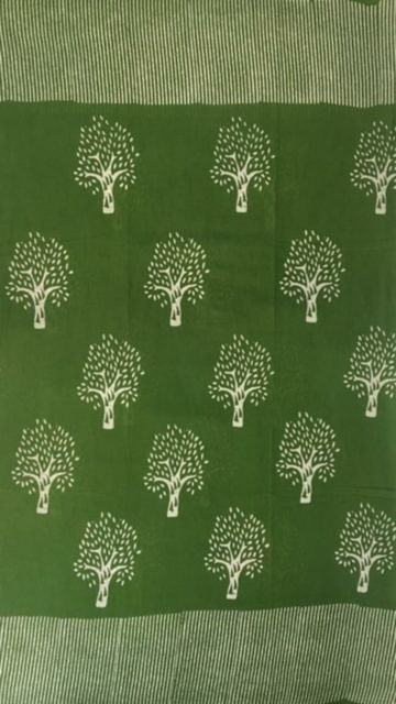 Yespoho Mehandi Green Designer Hand Block Print Cotton Saree