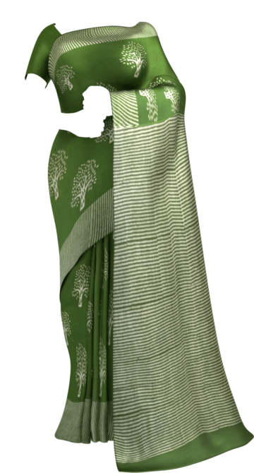 Mehandi Green Designer Hand Block Print Cotton Saree Cotton Sarees Thanksgiving Winter Sale Yespoho Sarees Handpicked Collections New Arrivals