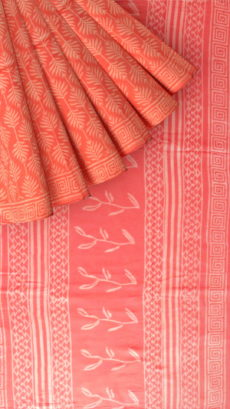 Peach Designer Hand Block Print Cotton Saree-yespoho