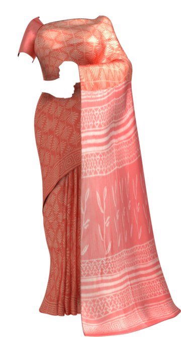 Peach Designer Hand Block Print Cotton Saree Cotton Sarees Diwali Sale Yespoho Sarees Handpicked Collections New Arrivals