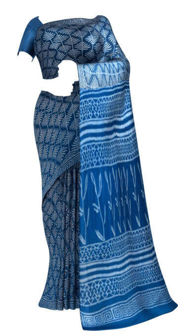 Blue Designer Hand Block Print Cotton Saree Cotton Sarees Thanksgiving Winter Sale Yespoho Sarees Handpicked Collections New Arrivals