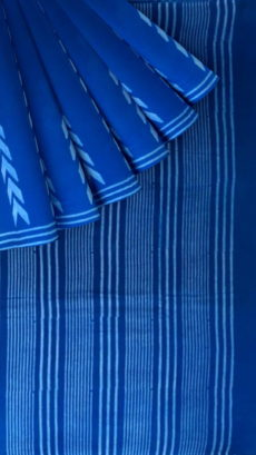 Blue Designer Hand Block Print Cotton Saree-yespoho