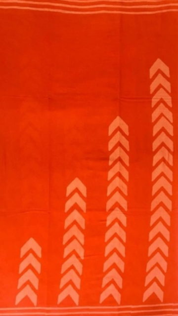 Yespoho Dark Orange Designer Hand Block Print Cotton Saree