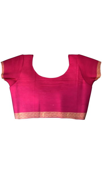 Magenta Designer Hand Block Print Cotton Saree with Unstitched Blouse