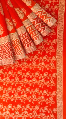 Dark Red Designer Hand Block Print Cotton Saree-yespoho