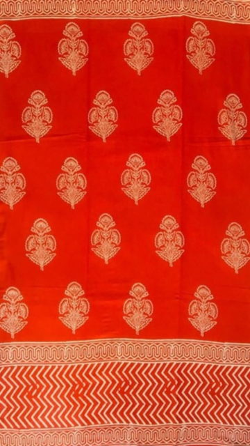 Yespoho Dark Red Designer Hand Block Print Cotton Saree