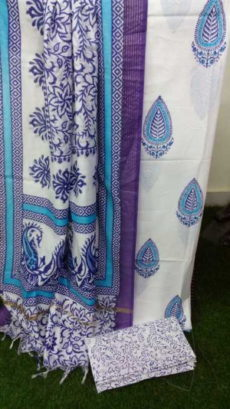 White & Purple Floral Design Cotton Dress Material-yespoho