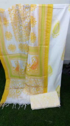 White & Yellow Floral Design Cotton Dress Material-yespoho