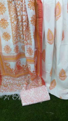 White & Orange Floral Design Cotton Dress Material-yespoho