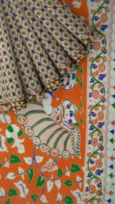 Orange & Dark Green Multicolour Kalamkari Cotton Saree-yespoho