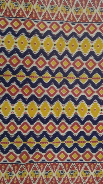 Yespoho Dark Blue & Yellow Multicolour Kalamkari Cotton Saree