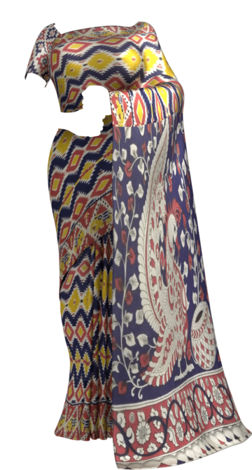 Dark Blue & Yellow Multicolour Kalamkari Cotton Saree Kalamkari Sarees Yespoho Sarees