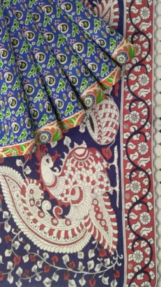 Blue & Light Red Kalamkari Cotton Saree-yespoho