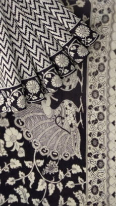 Black & White Kalamkari Cotton Saree-yespoho