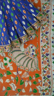 Orange & Dark Blue Kalamkari Cotton Saree-yespoho