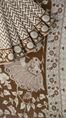 Coffee Brown & Offwhite Kalamkari Cotton Saree-yespoho